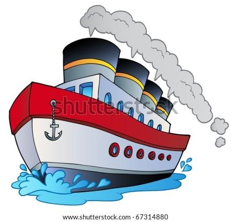 Big cartoon steamship - vector illustration. - stock vector