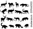 Big cats leopards and their prey of herbivores - stock vector