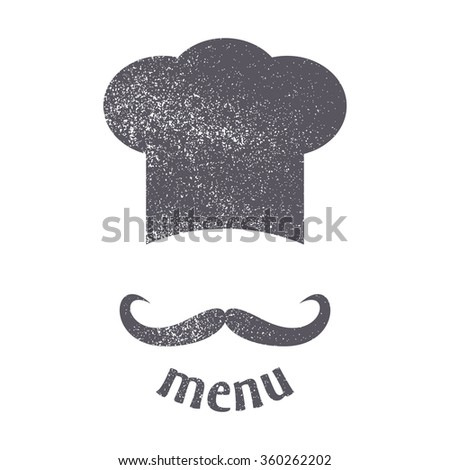 Big chef hat with mustache. Foods Service icon. Menu card. Vintage style simple flat vector illustration, EPS 10. - stock vector