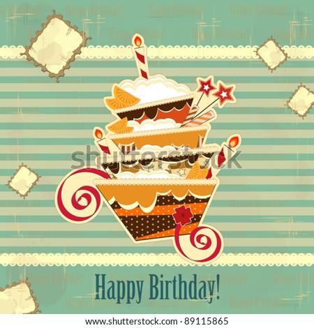 Admirable Big Chocolate Birthday Cake Burning Candle Stock Vector 89115865 Personalised Birthday Cards Veneteletsinfo