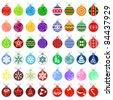 Big Christmas collection of various Christmas balls - stock vector