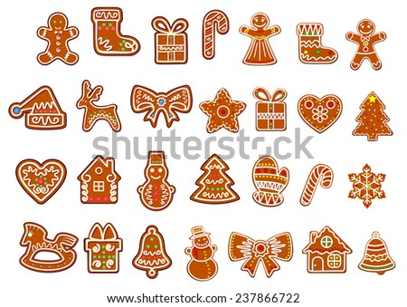 Big Christmas cookies collection with gingerbread and cookies figures of snowman, gift boxes and sock, gingerbread men, stars decorated curlicues of colored glaze isolated on white background - stock vector