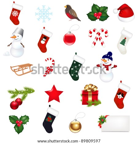 Big Christmas Icons Set, Isolated On White Background, Vector Illustration - stock vector