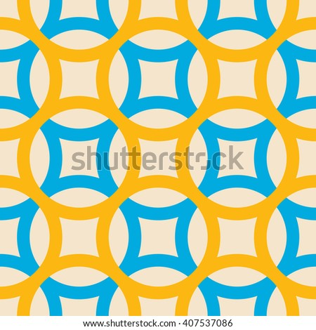 Big circles crossed seamless pattern blue yellow - stock vector