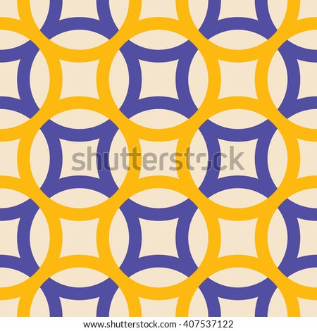 Big circles crossed seamless pattern yellow blue - stock vector