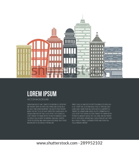 Big city architectural illustration with place for your text. Line style vector design. Modern template with skyscrapers.  - stock vector