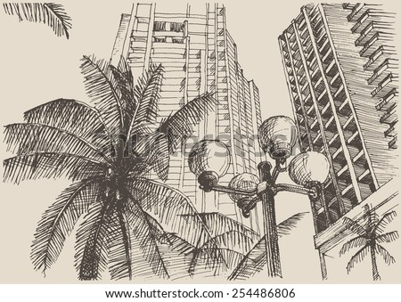 Big city architecture, vintage engraved illustration, hand drawn, sketch - stock vector