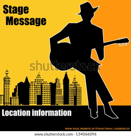 Big city  Blues Guitar Concert, Vector Poster or Flyer for an Acoustic Gig - stock vector