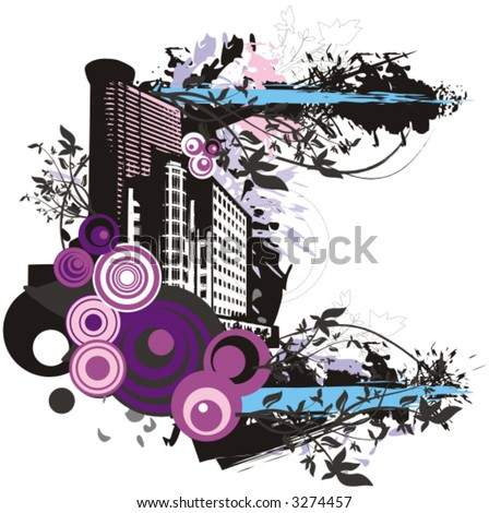 Big city  - buildings vector background with grunge and floral details. Check my portfolio for much more of this series as well as thousands of similar and other great vector items.