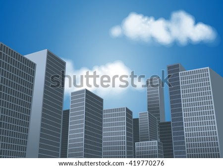 Big city landscape with tall buildings. Skyscrapers.