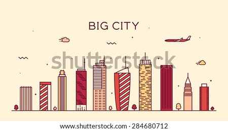 Big city skyline, detailed silhouette. Trendy vector illustration, linear style. - stock vector