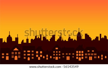Big city skyline during sunrise or sunset