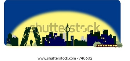 big city skyline vector based in Madrid. Spain. Cartoon style. Include Kyo towers and RTVE tower
