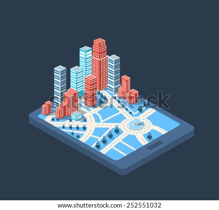 Big city skyscrapers buildings in the center of the big city - stock vector