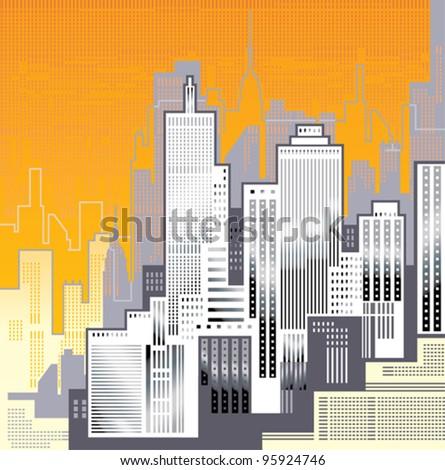 Big City. Skyscrapers in the background of an orange sky. - stock vector