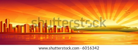 """Big city sunset panorama (2nd version """"Black and white cityscape"""" and other landscapes - in my gallery)  - stock vector"""