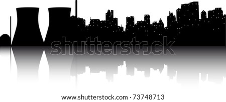 big city with nuclear power plant - stock vector