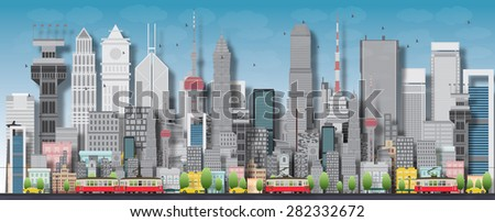 Big city with skyscrapers and small houses. Vector flat illustration. Business and tourism concept with skyscrapers. Image for presentation, banner, placard or web site - stock vector