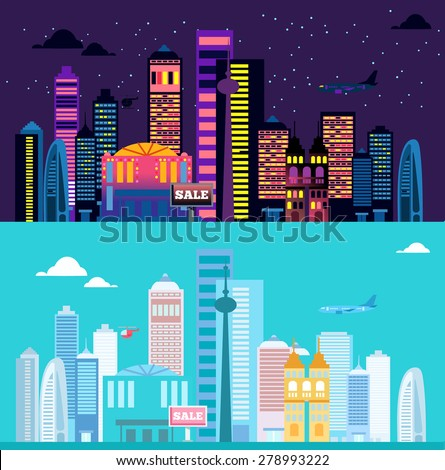 Big cityscape at day and night. Vector illustration in flat style - stock vector
