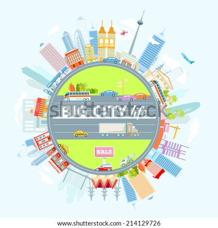 Big cityscape located around the circle. Vector illustration