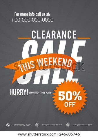 Big clearance sale flyer, banner or template. - stock vector