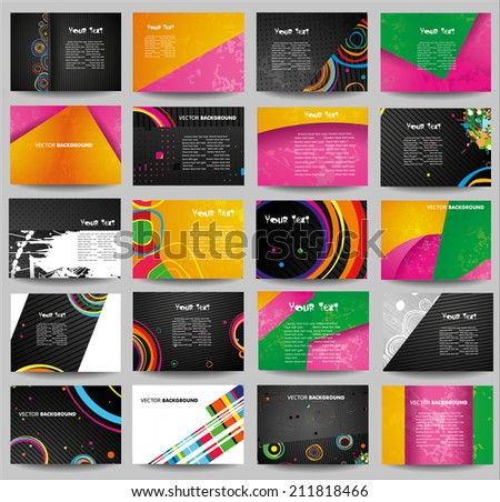 Big collection advertising posters on different topics.  - stock vector