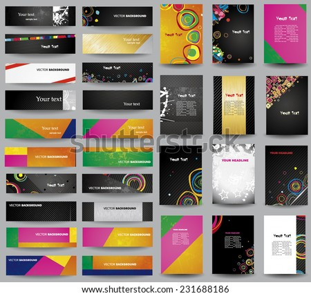 Big collection advertising posters on different topics - stock vector