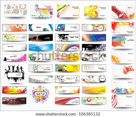 Big collection banners and business cards - stock vector