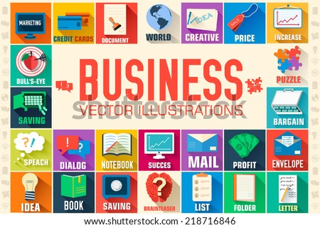 Big collection business illustration with text field tamplate for you design. Vector web and mobile application concept