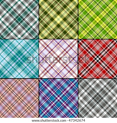 Big collection classical scottish seamless patterns (vector EPS 10) - stock vector
