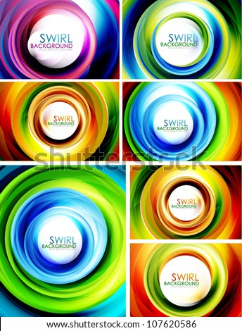 Big collection of abstract colorful swirl backgrounds - stock vector