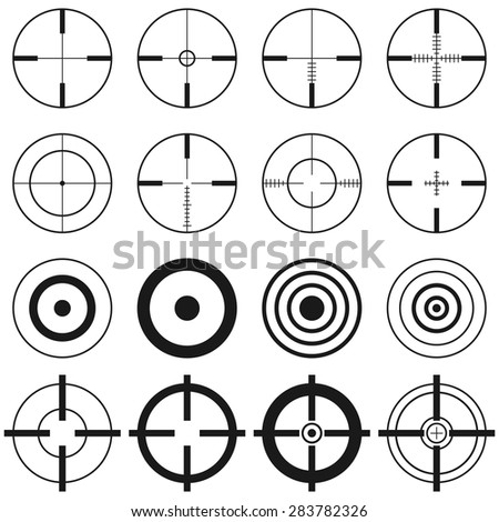 Big collection of aims, targets, cross-hairs. Black and white, vector illustration