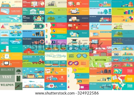 Big collection of banners in flat style. In Set themes: business, airport, online workshop, travel, medicine, eco, news, home appliance, farm, food, glasses, city, army, painter, export. Vector design - stock vector
