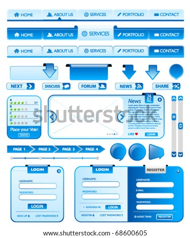 Big collection of blue web design elements 2 - stock vector