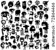 Big collection of cartoon funny monsters silhouettes - stock photo
