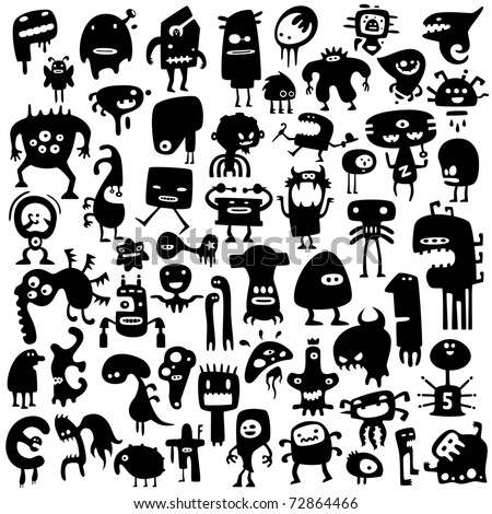 Big collection of cartoon funny monsters silhouettes