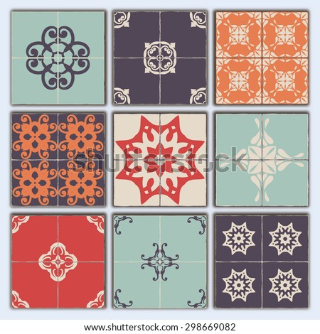 Big Collection of 9 ceramic tiles - patterns, RETRO blue-orange-red-violet-beige  style - stock vector