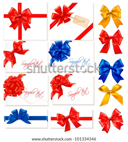 Big collection of color gift bows with ribbons. Vector. - stock vector