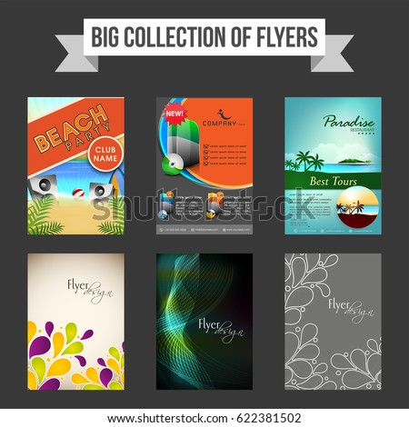 Big Collection Creative Flyers Templates Banners Stock Vector 2018