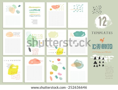 BIG Collection of 12 cute universal card or invitations. Wedding, marriage, anniversary, birthday, Valentin's day. Stylish simple design and gentle colors - stock vector