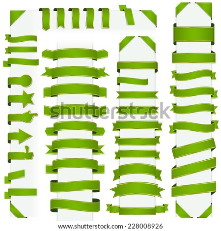 big collection of design retro banners green - stock vector