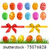 Big collection of different Easter eggs, tree, ribbons. vector illustration. - stock vector