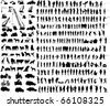 Big collection of different silhouettes - stock vector