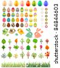 Big collection of easter eggs,trees,animals and flowers - stock vector