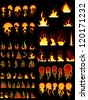 Big collection of fire elements. Fully editable EPS 8 vector illustration. - stock