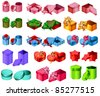 Big collection of gift boxes. Different shape and color. - stock vector