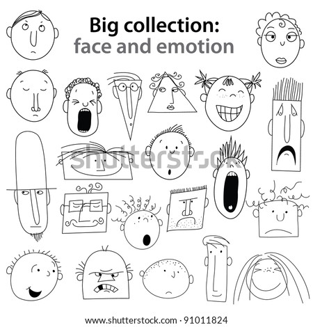 Big collection of - human emotions. Joy, happiness, indifference, anger, ... Vector set. - stock vector