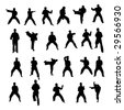 big collection of karate vector silhouettes - stock vector