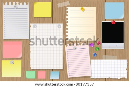 Big collection of message paper on the wooden panel, EPS10 - stock vector