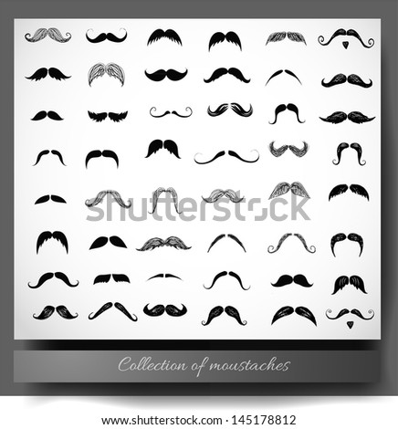 Big collection of moustaches isolated on white. Vector illustration. - stock vector
